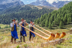 Horn players. In val senales bolzano bozen sudtirol tirol Stock Images