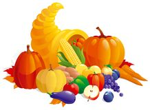Horn of Plenty. Vector Illustration of Cornucopia with fruit, berries  and vegetable Stock Images