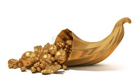 Horn of plenty with gold fruit. Gold symbol of wealth and prosperity stock images
