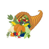 Horn of plenty harvest. On the white background. Vector illustration Royalty Free Stock Photography