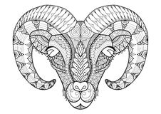 Horn sheep line art design for coloring book, t shirt design, tatoo and so on Stock Photos