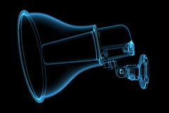 Horn speaker 3D blue transparent Royalty Free Stock Photo
