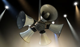 Horn Speakers Hanging Spotlights Royalty Free Stock Photos