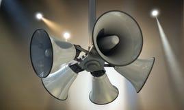 Horn Speakers Hanging Spotlights Stock Images
