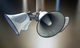 Horn Speakers Hanging Spotlights Stock Images