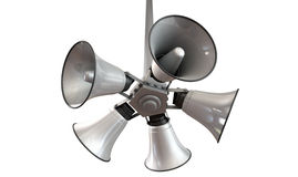 Horn Speakers Hanging View. An array of five horn loudspeakers hanging off a pole in a circle facing outwards on an isolated background Royalty Free Stock Photography