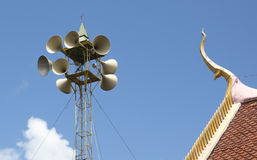 Horn speakers  in temple. Horn speakers to send messages to the community, Pop Pra district, Tak, Thailand Stock Images