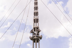 Horn speakers on tower against twilight sky Royalty Free Stock Photography