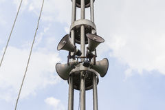Horn speakers on tower against twilight sky Royalty Free Stock Photo