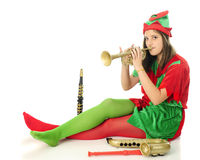 Horn-Tooting Elf Royalty Free Stock Photography