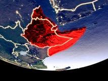 Horn von Afrika nachts vom Raum lizenzfreie abbildung