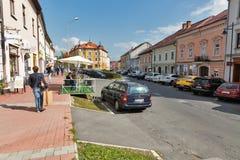 Horna街道在Banska Bystrica,斯洛伐克 免版税图库摄影