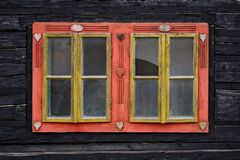 Horna Lehota village in Orva region. Traditional house with a carved window, Orava region, Slovakia stock image