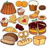 Hornada y conjunto del icono de los dulces Imágenes de archivo libres de regalías