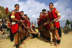 Hornbill Festival of Nagaland-India. Tribal people performing a ritual Stock Photos