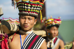 Hornbill Festival of Nagaland, India. Naga tribes wear traditional dress at the Hornbill festival that is held annually in the 1st week of December. The Stock Images