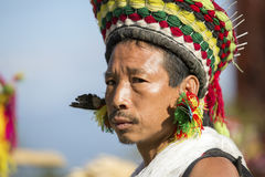 Hornbill Festival of Nagaland, India. Naga tribes wear traditional dress at the Hornbill festival that is held annually in the 1st week of December. The stock image