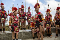 Hornbill Festival of Nagaland, India. Naga tribesmen wear traditional dress at the Hornbill festival that is held annually in the 1st week of December. The stock images