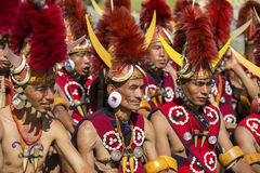 Hornbill Festival of Nagaland, India. Naga tribesmen wear traditional dress at the Hornbill festival that is held annually in the 1st week of December. The royalty free stock image