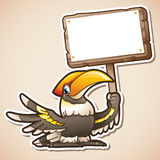 Hornbill holding sign Royalty Free Stock Photography