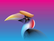 Hornbill lines fade color Royalty Free Stock Photography