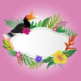 Hornbill und Blumen mit Kopienraumhintergrund Lizenzfreies Stockfoto