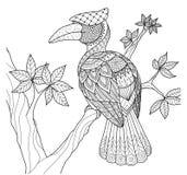 Hornbillfågel på trädzentangledesignen för färgläggningbok och andra garneringar stock illustrationer