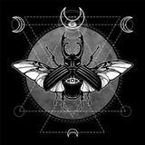 Horned bug. vector illustration