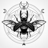 Horned bug. Mystical circle. Esoteric symbol, sacred geometry. Sign of the moon. Monochrome drawing isolated on a grey background. Vector illustration. Print Royalty Free Stock Photos