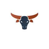 Horned bull head ancient emblem animal element. Heraldic vector Stock Photos
