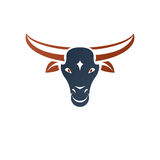 Horned bull head ancient emblem animal element. Heraldic vector Stock Images
