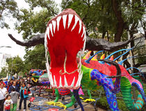 Horned Dinosaur in Mexico City Stock Image