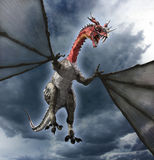 Horned Dragon. A horned dragon in flight - 3d render Royalty Free Stock Photography