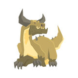 Horned dragon monster, mythical and fantastic animal vector Illustration Royalty Free Stock Photography