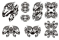Horned dragon set in tribal style Stock Image