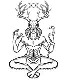 Horned god Cernunnos . Mysticism, esoteric, paganism, occultism. Vector illustration isolated on a white background vector illustration