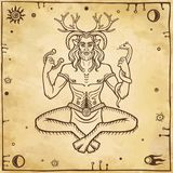 Horned god Cernunnos . Mysticism, esoteric, paganism, occultism. Vector illustration. Background - imitation of old paper stock illustration
