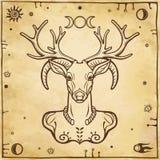 Horned god Cernunnos . Mysticism, esoteric, paganism, occultism. Vector illustration. Background - imitation of old paper royalty free illustration