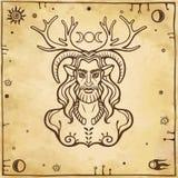 Horned god Cernunnos . Mysticism, esoteric, paganism, occultism. Vector illustration. Background - imitation of old paper vector illustration