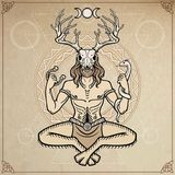 Horned god Cernunnos . Mysticism, esoteric, paganism, occultism. Vector illustration. Background - imitation of old paper, a decorative circle stock illustration