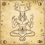 Horned god Cernunnos . Mysticism, esoteric, paganism, occultism. Royalty Free Stock Photo