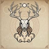 Horned god Cernunnos . Mysticism, esoteric, paganism, occultism. Vector illustration. Royalty Free Stock Photo