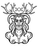 Horned god Cernunnos . Mysticism, esoteric, paganism, occultism. Vector illustration isolated on a white background stock illustration