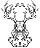 Horned god Cernunnos . Mysticism, esoteric, paganism, occultism. Vector illustration isolated on a white background royalty free illustration