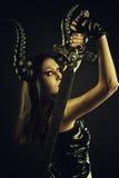 Horned kvinnlig demon som uppträder i drömmen och där har sex med den sovande mannen royaltyfria bilder