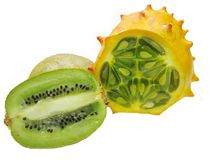 Horned melon fruit and kiwi Stock Images