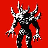 Horned monster with spikes stands ready to attack. Vector illustration. Horned monster with spikes stands ready to attack. Vector illustration on red background Royalty Free Stock Photos