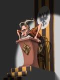 Horned Putin in brown shirt on the podium. Horned Russian president Vladimir Putin standing in brown shirt on the podium Royalty Free Stock Photography