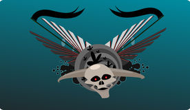 Horned skull background. Vector illustration of horned skull Stock Photography
