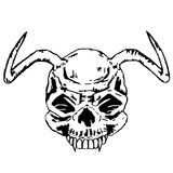 Horned skull of the beast. Black and white, isolated Stock Photo